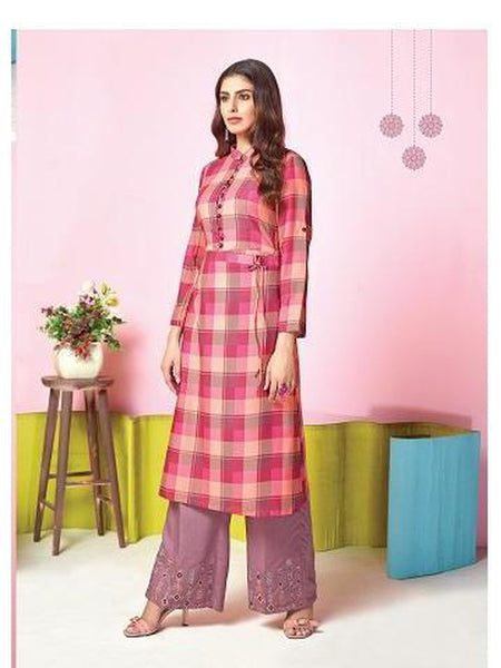 Designer Pink Color Printed & Thread Work Kurti with Palazzo