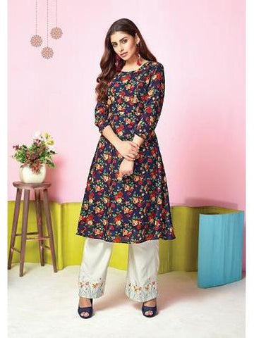 Designer Navy Blue Color Printed & Thread Work Kurti with Palazzo