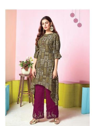 Designer Olive Green Color Printed & Thread Work Kurti with Palazzo