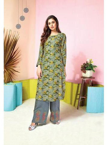 Designer Grey & Yellow  Color Printed & Thread Work Kurti with Palazzo