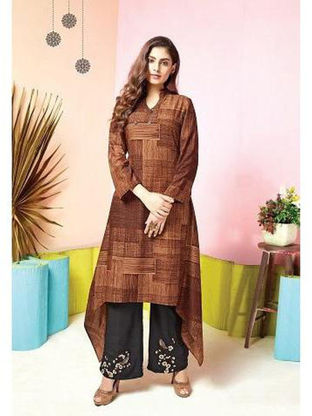 Designer Brown Color Printed & Thread Work Kurti with Palazzo