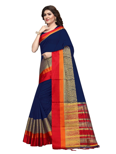 Beautiful Navy Blue Color Weaving Work Cotton Silk Saree