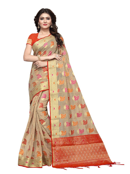 Beautiful Sand Grey Color Weaving Work Cotton Silk Saree