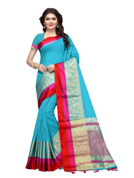 Beautiful Turquoise Blue Color Weaving Work Cotton Silk Saree