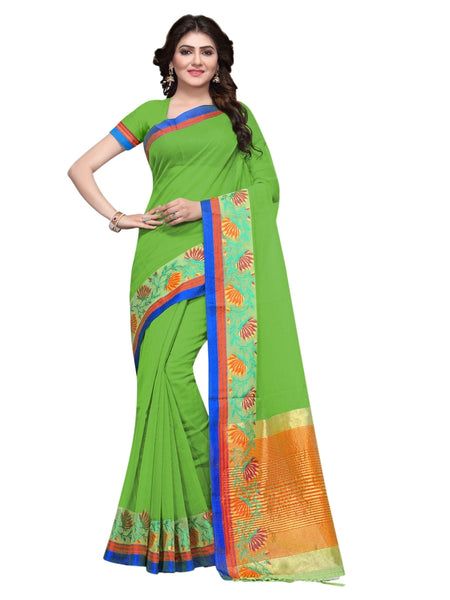 Beautiful Green Color Weaving Work Cotton Silk Saree
