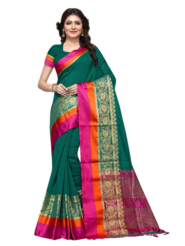 Beautiful Teal Green Color Weaving Work Cotton Silk Saree