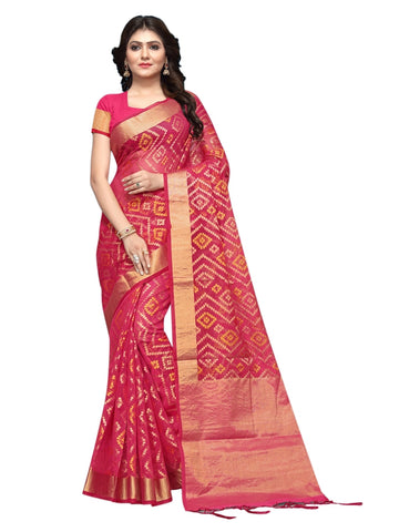 Beautiful Dark Pink Color Weaving Work Cotton Silk Saree