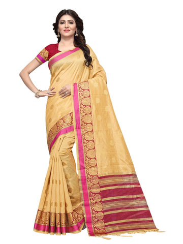 Beautiful Beige Color Weaving Work Cotton Silk Saree