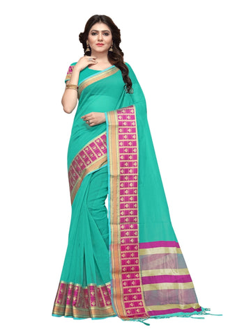 Beautiful Sea Green Color Weaving Work Cotton Silk Saree