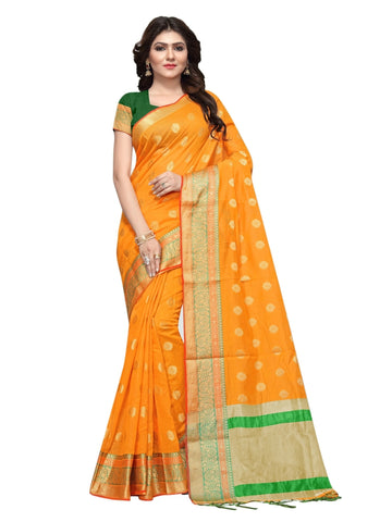Beautiful Orange Color Weaving Work Cotton Silk Saree