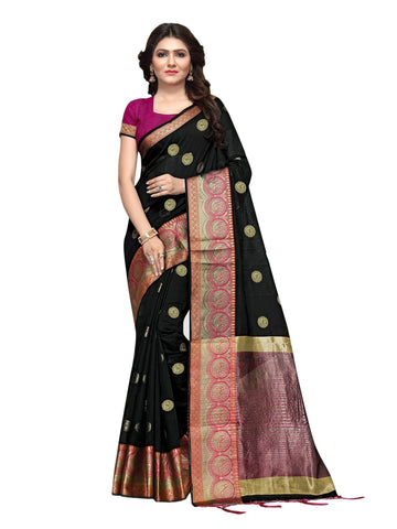 Beautiful Black Color Weaving Work Cotton Silk Saree