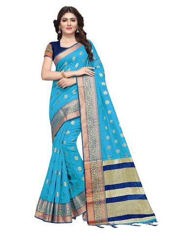 Beautiful Blue Color Weaving Work Cotton Silk Saree