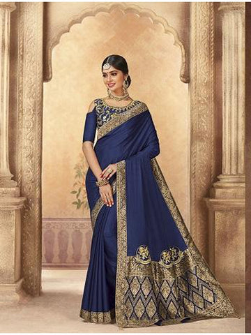 Beautiful Party Wear Navy Blue Color Jari & Thread Embroidered Work Art Silk Saree