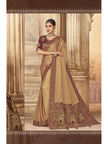 Beautiful Party Wear Beige Color Jari & Thread Embroidered Work Art Silk Saree