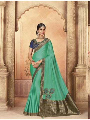Beautiful Party Wear Turquoise Blue Color Jari & Thread Embroidered Work Art Silk Saree