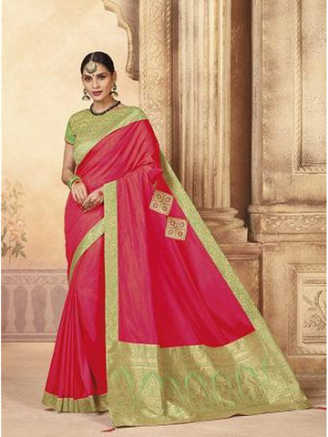 Beautiful Party Wear Fuschia Pink Color Jari & Thread Embroidered Work Art Silk Saree
