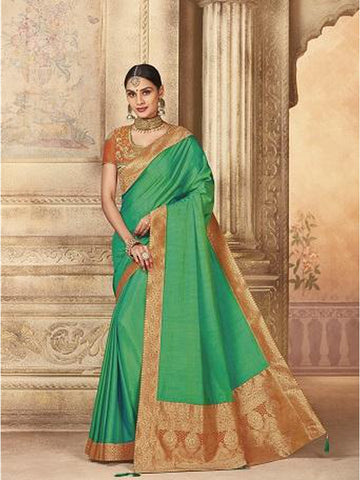 Beautiful Party Wear Green Color Jari & Thread Embroidered Work Art Silk Saree