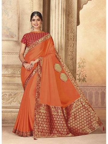 Beautiful Party Wear Orange Color Jari & Thread Embroidered Work Art Silk Saree