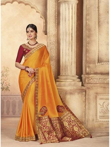 Beautiful Party Wear Mustard Yellow Color Jari & Thread Embroidered Work Art Silk Saree