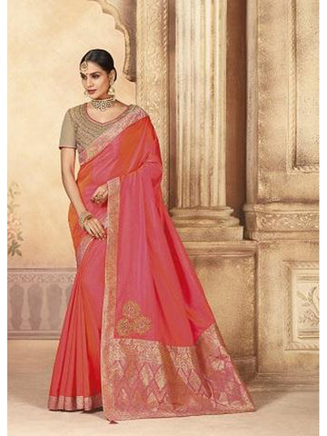 Beautiful Party Wear Pink Color Jari & Thread Embroidered Work Art Silk Saree