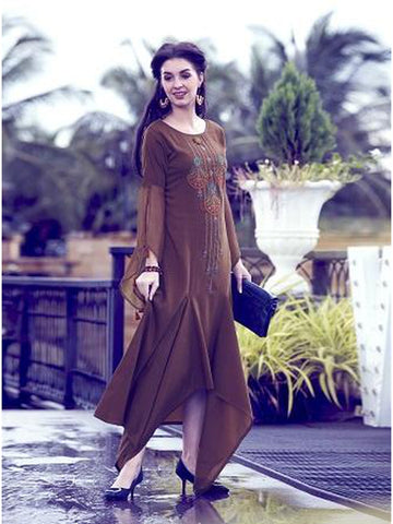 Designer Brown Color Soft Fluid Silk Thread Embroidered Flared Kurti