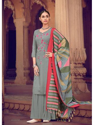 Designer Grey Color Crepe Muslin Silk Printed & Thread Work Straight Cut Suit