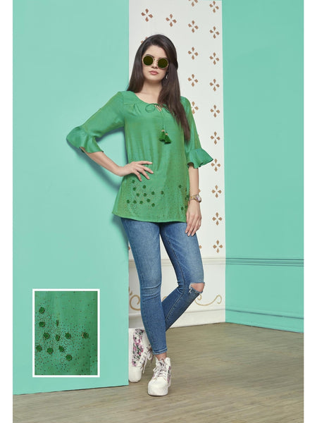 Preety Green Color Muslin Cotton Top