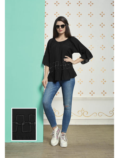 Preety Black Color Muslin Cotton Top
