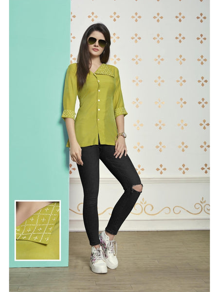 Preety Pear Green Color Muslin Cotton Top