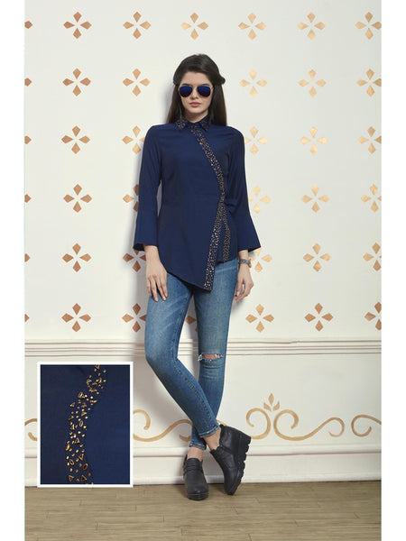 Preety Navy Blue Color Muslin Cotton Top