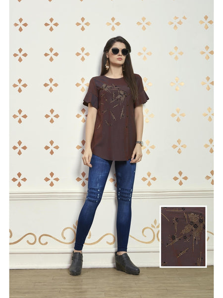 Preety Brown Color Muslin Cotton Top