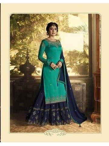 Beautiful Sea Green Color Georgette Straight Cut Suit