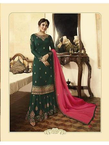 Beautiful Dark Green Color Georgette Straight Cut Suit