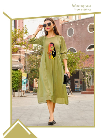 Designer Olive Green Color Straight Cut Kurti
