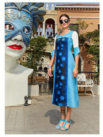 Designer Blue Color Straight Cut Kurti