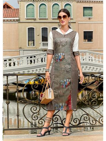 Designer Grey Color Straight Cut Kurti