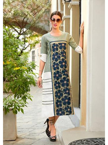 Designer Light Green & White Color Straight Cut Kurti