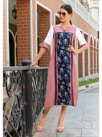 Designer Pink & Navy Blue Color Straight Cut Kurti
