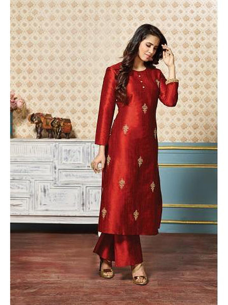 Gorgeous Red Color Art Silk Jari Embroidered Kurti with Bottom