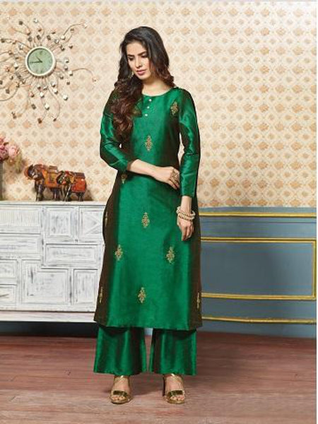 Gorgeous Dark Green Color Art Silk Jari Embroidered Kurti with Bottom