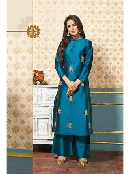 Gorgeous Blue Color Art Silk Jari Embroidered Kurti with Bottom