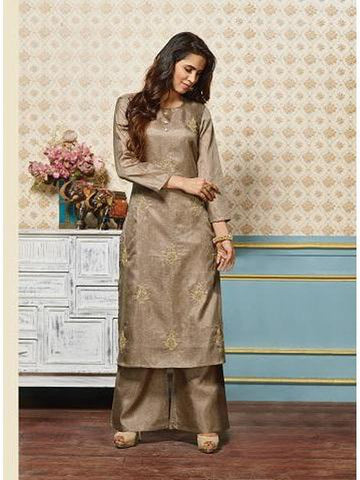 Gorgeous Sand Grey Color Art Silk Jari Embroidered Kurti with Bottom