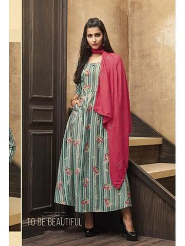 Beautiful Sea Green Color Printed & Thread Work Straight Cut Kurti with Scarf