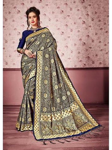 Designer Navy blue & Gold color Kanjivaram Silk Saree