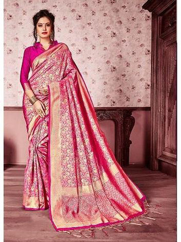 Designer Rani Pink & Gold color Kanjivaram Silk Saree