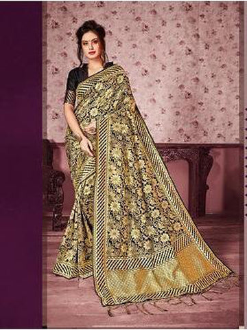 Designer Black & Gold color Kanjivaram Silk Saree