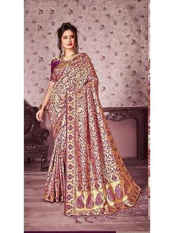 Designer Purple & Gold color Kanjivaram Silk Saree