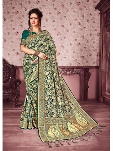 Designer Green & Gold color Kanjivaram Silk Saree