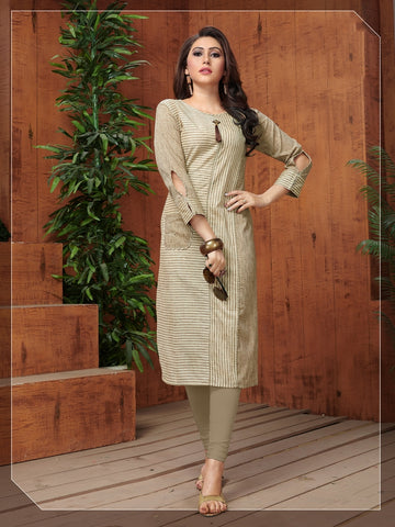 Designer Beige Color Khadi Cotton Straight Cut Kurti