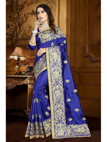 Designer Royal Blue color Art Silk Saree